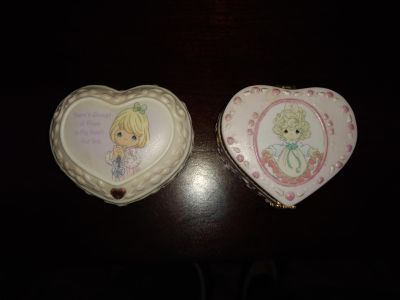 Precious Moments trinket boxes heart-shaped