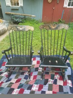 SET OF TWO EARLY AMERICAN ROCKERS