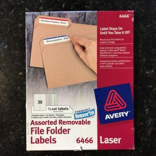 Labels for Files, removable, 23/25 sheets remain