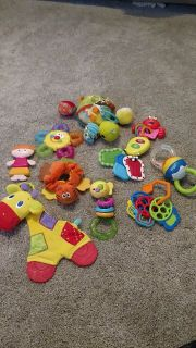 Various rattles and infant toys
