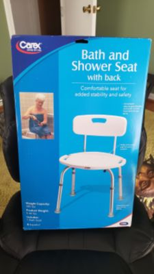Carex Adjustable Bath and Shower Seat w/Back - BRAND NEW!