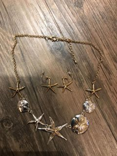 Two toned starfish and Sand Dollar Necklace and Earring Set