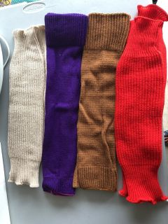 Leg Warmers: ivory, purple, brown, and red-all for $15 total