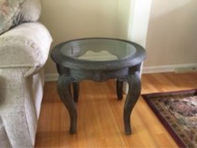 Pencil Reed Bamboo Glass Top End Table