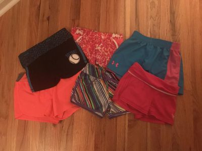 6 pairs of size 8 athletic shorts - underarmour, Justice, old navy
