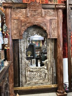 Eclectic Indian Antique Window Frame Brown 18c