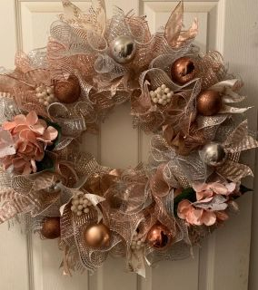 Rose Gold Mesh Christmas Wreath