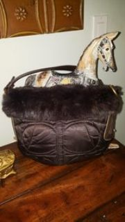 Authentic Coach bag trimmed with rabbit fur