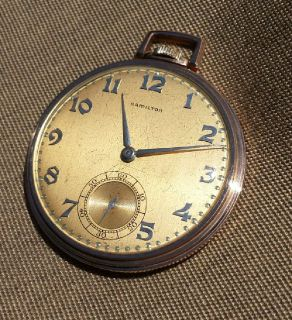 Blaine Hamilton 14k solid rose gold pocket watch with rose and yellow link