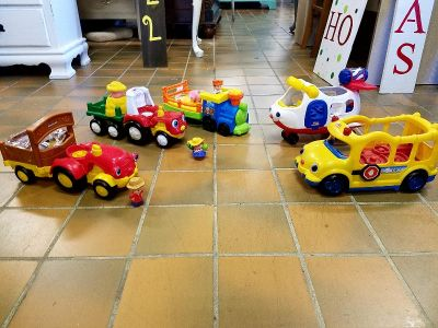 Little People tractors and train $12 each and airplane/bus $8 each. All plus tax