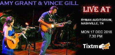 Amy Grant & Vince Gill Tickets, Ryman Auditorium - Nashville - TN, Mon 17 Dec 2018 at 07:30 PM