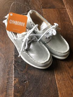 New Girls Silver Boat Shoes Size 13
