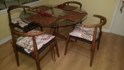 West Elm Round Glass Dining Room Set by John Vogel (5 piece)