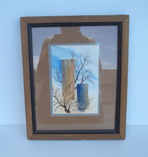 Rustic Wood Framed Hand Drawn Tree Branches Picture