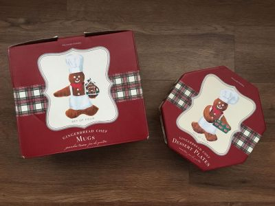 Williams Sonoma Gingerbread Chef set of four mugs and dessert plates