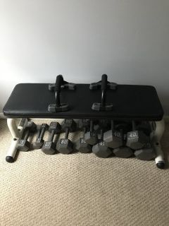 Cast hex dumbbells and bench