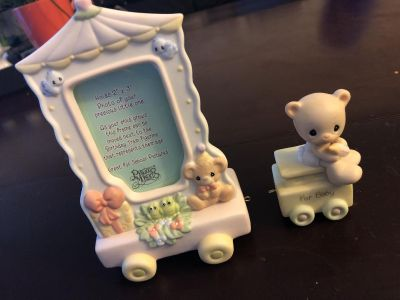Precious Moments photo frame and baby train