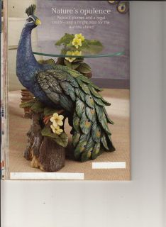 $275, Peacock Accent Table With Colorful Tail Feathers On  Display