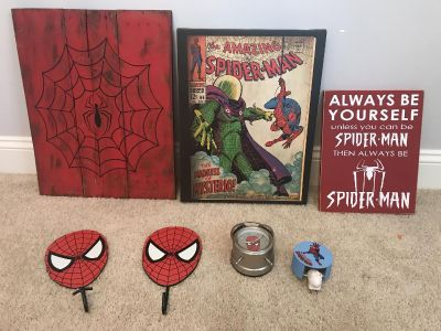 Spider-Man room art and pottery barn accessories