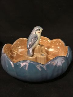 Antique Porcelain Lusterware Flower Bowl with Matching Bird Flower Frog - Made in Japan by SEIEI Co