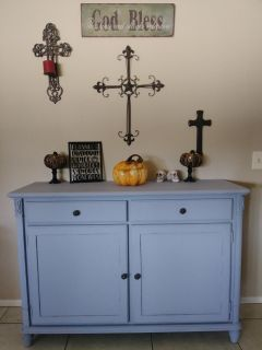 Gray Distressed Large Cabinet