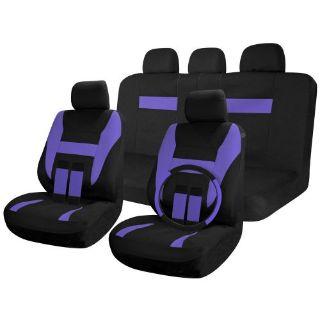 Buy SUV Van Truck Seat Covers Full Set Black / Purple 17pc w/Steering Wheel Cover motorcycle in Van Nuys, California, United States, for US $26.16