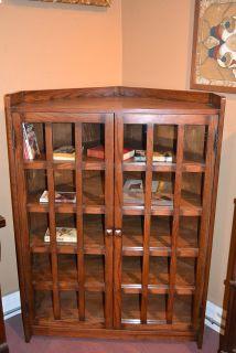 Arts and Crafts Mission Oak Corner Bookcase / C...