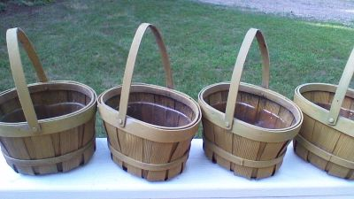 4 Baskets w/Plastic Liners for Hanging Plants