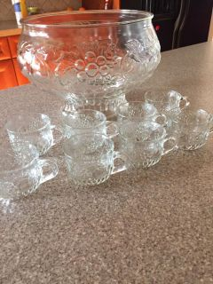 Vintage glass punch bowl with 8 glass cups