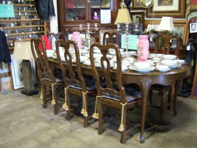 Baker Dining Table, 2 Leaves & 8 Chairs @ Brass Bear 2652 Valleydale Rd Birmingham (Hoover area) AL 35244 -- 205-566-0601