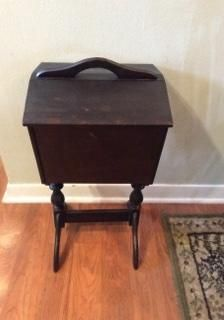 Vintage/Primitive-Standing Wooden Sewing Box Chest-Flip Hinged Lids