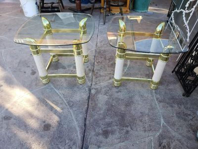 Pair glass top end table