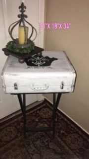 shabby chic suite case decor w stand.
