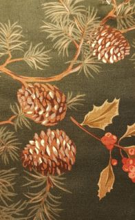 Drk Green w/Pine Cones Holly