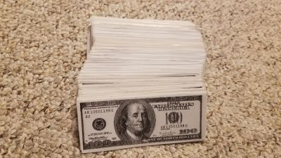 Laminated $100 bills - used for incentives