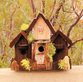Handcrafted Birdhouse, Made from Recycled wood, 3 unit compound, 4Deboids