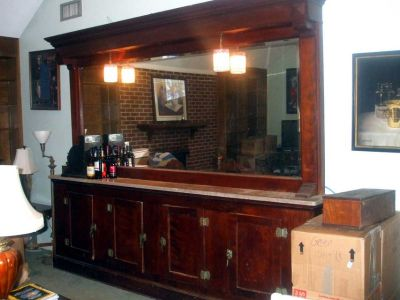 Large Antique Wood Back Bar with Mirror & Marble Counter Top - A MUST See!