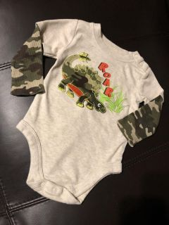 ROAR Camouflage Brand New Long Sleeve Shirt Onesie. Perfect Condition. Size 12 Months