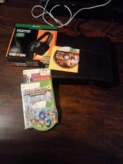 Xbox 360 with games and headphones