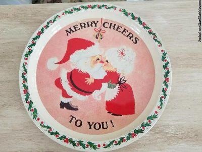 Vintage retro santa circular tray