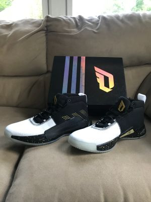 Adidas Dame 5 Core Black Gold Damian Lillard Basketball Shoe Men s 9.5 NWB