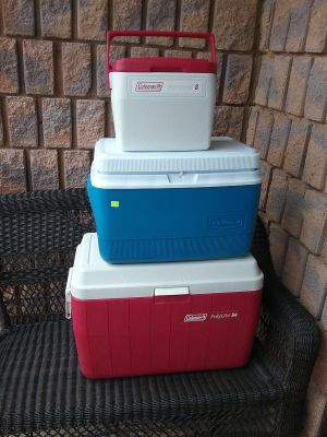 3 COOLERS LIKE NEW $50.00 FOR ALL