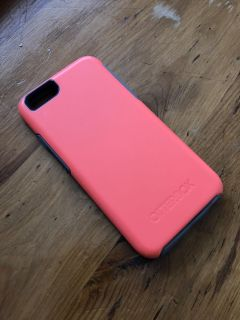 iPhone 7 otter box, coral & grey