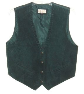 Mens Large Ivy Club Green 100% Suede Leather Snap Front Lace Up Neck Vest