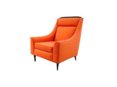 Vintage Mid Century Armchair In Orange Tweed