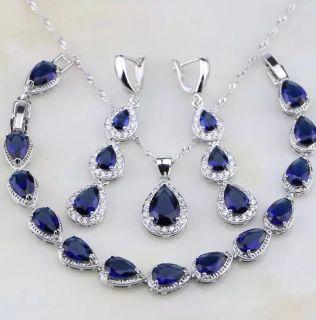 925 Sterling Silver Jewelry Sets For Women Earrings/Pendant/Necklace/Bracelet