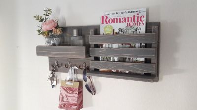 Rustic Gray Wood Wall Mounted Mail Key Holder Entryway Organizer Shelf