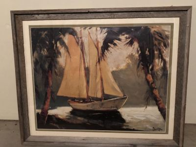 34x28 Large Rustic Wood Sailboat Picture