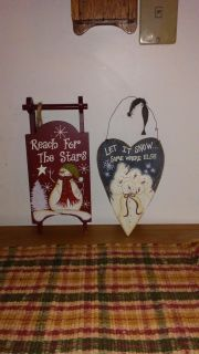 Wood snowman sled and heart Christmas decor excellent condition