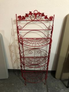 Bright Red Iron Foldable Plant Stand $35 OBO